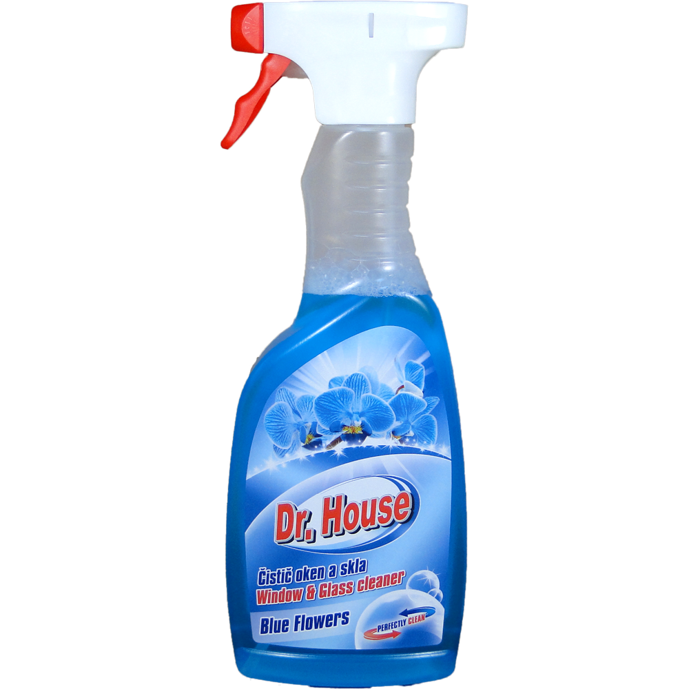 Dr. House čistič oken s rozprašovačem Blue flower 500 ml