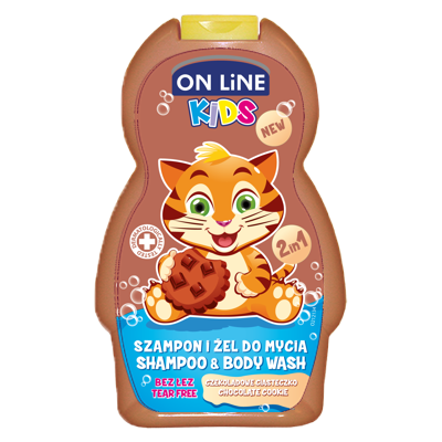 On line kids 2v1 šampón a sprchový gel NEW Chocolate 250 ml