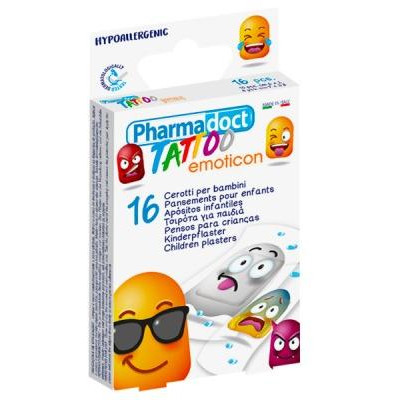 Pharmadoct náplast dětská Tattoo Emoticon 16 ks