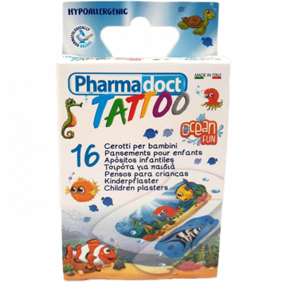 Pharmadoct náplast dětská Tattoo Ocean Fun 16 ks